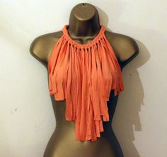 plaited necklace Fabric necklace with fringe in fabric  with T shirt Recycled Necklace Fabric