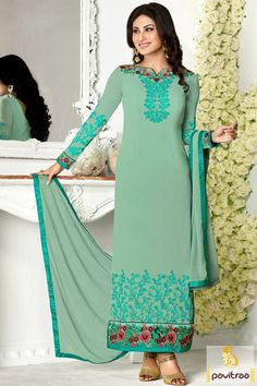 Rudra Fashion Mouni Roy light sea #green color long salwar suit online in georgette chiffon material. Buy online new style tv actresses salwar kameez at low cost. #salwarsuits, #tvactresssalwarsuits, #shivanyadresses  More : http://www.pavitraa.in/store/tv-actress-salwar-suits/?utm_source=mk&utm_medium=pinterestpost&utm_campaign=8Apr
