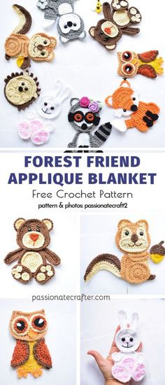 Sweet and Easy Crochet Applique Free Patterns - Crochet - Sweet and Easy Crochet Applique Free Patterns Forest Friend Applique Blanket Free Crochet Pattern Appliques Au Crochet, Crochet Applique Patterns Free, Crochet Motifs, Crochet Animal Patterns, Stuffed Animal Patterns, Crochet Blanket Patterns, Baby Blanket Crochet, Crochet Stitches, Crochet Animal Hats