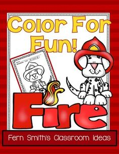 Fire Prevention and Safety Fun! Color For Fun Printable Coloring Pages {14 coloring pages equals less than 10 cents a page.} #TpT $