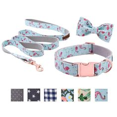 Unique Style Paws Dog or Cat Collar or Leash Set Pink Flamingo with Pure Cotton Bows for Pets