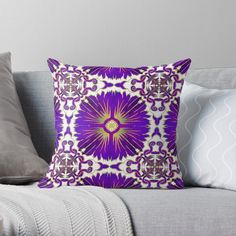 Azulejos Portuguese Tiles - Purple, Throw Pillow by Olooriel on Redbubble | #azulejos #portuguese #portugal #homedecor #redbubble #throwpillow #pillow #pillows #throwpillows