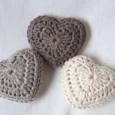Crochet lavender hearts