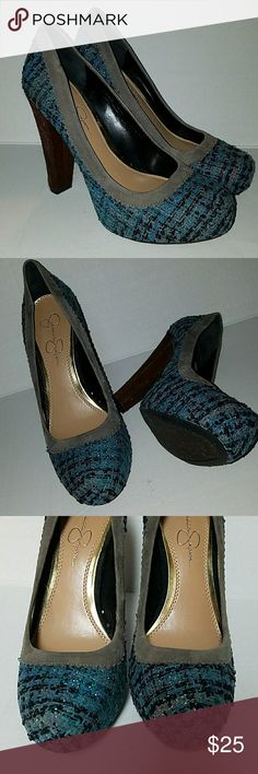 "NWOT Jessica Simpson Heels Textured  teal  Gray  navy blue  with brown heels 5"". New never been worn size 8B. Jessica Simpson Shoes Heels"