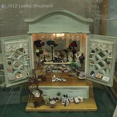 Grace's Fine Accessories, vignette exhibited by Cindy Diamond at the Fall 2012 Seattle Dollhouse Miniature Show.