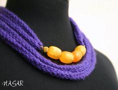 Deep purple wool necklace on Etsy, $25.00