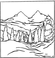 usa-printables: yosemite - yosemite falls coloring page - us ... - Mountain Landscape Coloring Pages