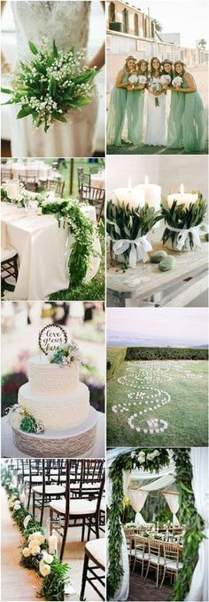 Rustic country wedding in white and green