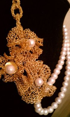 Wire Crochet Flower Necklace