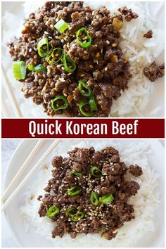 Korean Beef and Rice is a family favorite that comes together in less than 20 minutes and tastes better than take out. Enjoy ground beef browned to perfection with a delicious homemade sauce that makes the best meal! via Quick Korean Beef and Rice Recipe Korean Beef And Rice Recipe, Korean Beef Recipes, Best Beef Recipes, Rice Recipes, Cooking Recipes, Healthy Recipes, Korean Beef Bowl, Korean Rice, Asian Beef