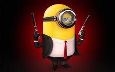 Scarica sfondi Minion, 4k, guardia di sicurezza, Minion Cattivissimo Me, 3d, animazione