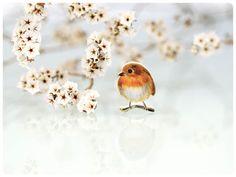 Vogelbrosche Rotkehlchen Brosche Zeichnung von fraufischers auf Etsy