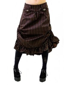 2865bfb15cd Women s Steampunk Vintage Tucked Ruffle Hem Stripe Skirt. Sizes 6 - 16 -  CM11HNJM39T