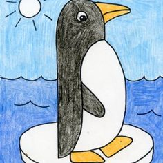 Draw an Easy Penguin · Art Projects for Kids Art Drawings For Kids, Drawing For Kids, Easy Drawings, Art For Kids, Drawing Projects, Art Projects, Drawing Tutorials, Drawing Ideas, Penguin Drawing Easy