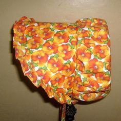 Sunbonnet Orange Pipin' Pansies Girls 2 to 5 years by GrandmasGirl (Accessories, Hats & Caps, Sun Hats & Visors, Sunbonnets, hat, girl, sun bonnet, preschool, accessories, sunbonnet, sunhat, bonnet, orange, pansies, prairie, costume, girls)