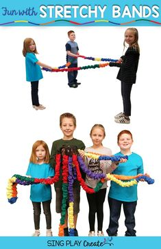 Fun ways to use stretchy bands in music class as learning games, team building and movement activities to express dynamics. #stretchybandactivities www.singplaycreate.com #musicandmovement, #singplaycreate, #creativemovement, #stretchybands,
