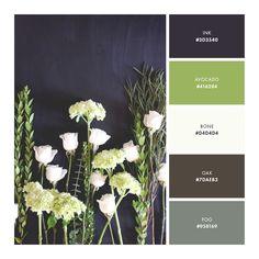 color palette, dark blue, lime, green, brown, floral