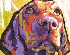 Weimaraner Dog art print modern dog pop art by BentNotBroken