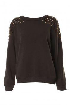 Black Soft Gold Metal Studded Sweater Jumper