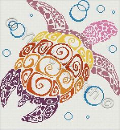 Turtle - modern cross stitch kit or pattern