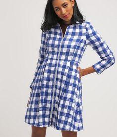 mint&berry Krótki płaszcz niebieska krata bright white