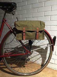 Français vélo Vintage Surplus militaire sac sac à bandoulière vert toile
