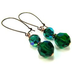 Green Earrings Swarovski Crystal Emerald and Copper May Birthstone. $18.00, via Etsy.