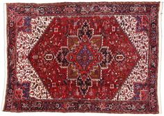 Vintage+Persian+Heriz+Rug+with+Mid-Century Modern+Style+8'10+x+12'1.+Hand-knotted Persian+Heriz+rug+with+an+overall+geometric+design+scheme+featuring+the+center medallion+on+a+red+rust+background+with+complementary+spandrels+and+main border.