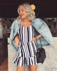 Denim jacket over cute little striped dress. Holiday Outfits, Summer Outfits, Casual Outfits, Cute Outfits, Girl Fashion, Fashion Looks, Fashion Outfits, Womens Fashion, Looks Style