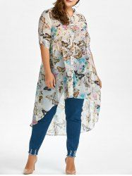 Plus Size High Low Butterfly Print Top