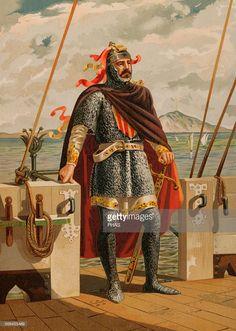 Roger of Lauria (1245-1305). Sicilian-Aragonese admiral. Coloured illustration in Spanish Glories. Ramon Molinas, editor.