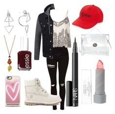 """""""Untitled #79"""" by gilda-golden on Polyvore featuring Topshop, Miss Selfridge, Timberland, Amici Accessories, NARS Cosmetics, Glitter Pink, Essie and Casetify"""