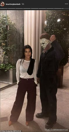 She made the fun night too: Here Kourtney is seen with a white shirt over a black bra as she stands next to a man in costume Kardashian Style, Kardashian Jenner, Night Outfits, Casual Outfits, Kourtney Kardashion, Kyle Jenner, Black Bra, Style Icons, Normcore