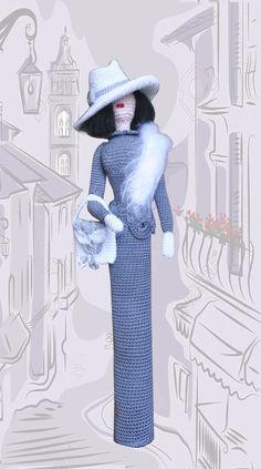 Muñeca de trapo, muñeca de arte Rag, ganchillo muñeca, muñeca decorativa Neckpiece señora, idea de regalo para la niña y la mamá, ooak amigurumi muñeca