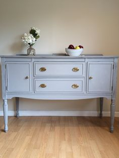 Stunning 1949's sideboard refinished in pebble beach gray by #countrychicpaint