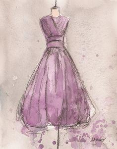 Etsy   Laure Maurer Artworks  Vintage Lemon Lavender Dress