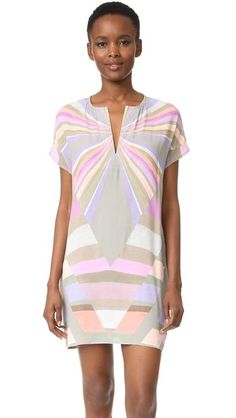 Mara Hoffman Prism Tunic Dress In Lavender Mara Hoffman, Knee Length Dresses, Dresses With Sleeves, Cap Sleeves, Dress Outfits, Fashion Outfits, Colorful Fashion, Striped Dress, Pretty Dresses
