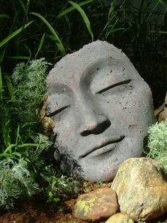 Sacred Stone Small Buddha Fragment Garden Sculpture Sometimes, you go to an art festival and you wal Modern Sculpture, Sculpture Clay, Ceramic Sculptures, Garden Whimsy, Garden Art, Ceramic Mask, Buddha Face, Cement Art, Garden Statues