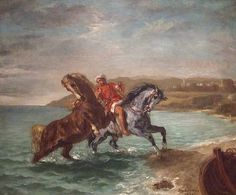 Horses Coming out of the Sea by Delacroix in the Phillips Collection, January 2011, for more, please visit http://www.painting-in-oil.com/artworks-Delacroix-Eugene-page-1-delta-ALL.html