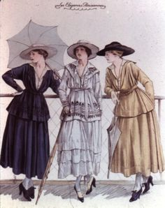 Jeanne Paquin Day dresses, 1910's. The barrel silhouette typified by a baggy dress/jacket combination that made women look large and somewhat droopy in the chest. The skirts had risen to the ankle or slightly higher, but were still quite full.  Carrying parasols which were very in fashion.