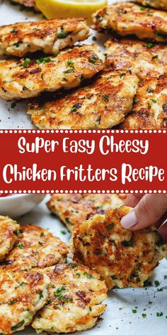 Super Easy Cheesy Chicken Fritters Recipe - Healty fitness home cleaning Chicken Fritters Recipe, Crispy Chicken Recipes, Chinese Chicken Recipes, Leftover Chicken Recipes, Ground Chicken Recipes Easy, Chicken Croquettes, Chicken Patties, Indian Chicken, Easy Meal Prep