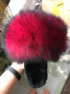 This red is so special! Any one like it? I'll list it in my eBay store if it is pined over 20 times. #fluffy fox fur slippers#