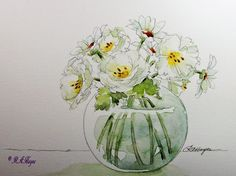 Watercolor Paintings by RoseAnn Hayes: White Roses and Daisies