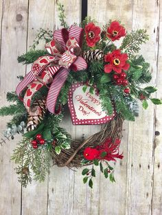 Your place to buy and sell all things handmade : Valentine Wreath, Valentines Day Wreaths, Wreaths for Front Door, Valentine Red Heart Wreath, Farm House Valentine Decor Valentines Day Holiday, Valentine Day Wreaths, Valentines Day Decorations, Valentine Crafts, Christmas Wreaths, Valentine Ideas, Valentine Stuff, Christmas Displays, Spring Wreaths