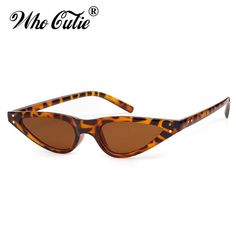 d74b009bf495 WHO CUTIE 2018 Small Triangle Cat Eye Sunglasses Sexy Women Leopard Cateye  Frame Skinny Narrow Retro Slim Shades 520
