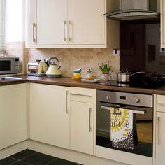 Kitchen Tiles For Cream Kitchen kitchen design, walnut worktop, shaker cream gloss | ideas