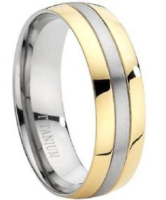Masculine Men's Wedding Ring with Little Accent of Gold