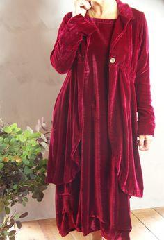 Long Scoop Jacket in silk velvet, £365, over Tasman dress in velvet £335. Also in teal, royal blue, green, old gold, pink and more.