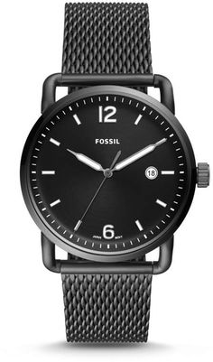 22d6ec3a1f1 Fossil The Commuter Three-Hand Date Smoke Stainless Steel Watch Relógios  Masculinos
