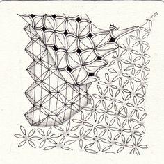 Ein Zentangle aus den Mustern Netzwerk, Fiore, Quandary,  gezeichnet von Ela…